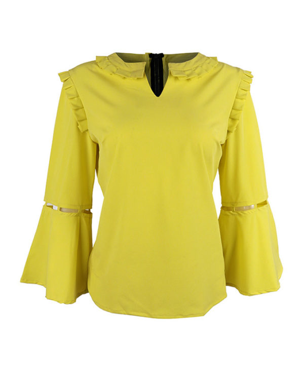Yellow Crepe Cuotout Sleeve Blouse