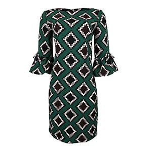Green Print Semi-Sheath Dress