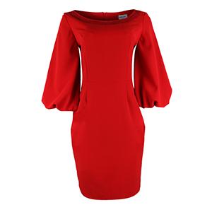 Red Embellished Pencil Dress