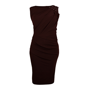 Embelished Asymmetric Pleat Pencil Dress