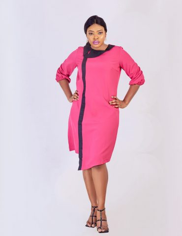 HaloGlow Pink Side Collar Dress