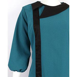 Green side collar dress