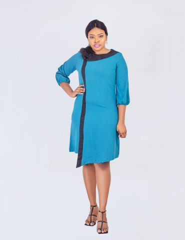 HaloGlow Green Side Collar A-line Dress
