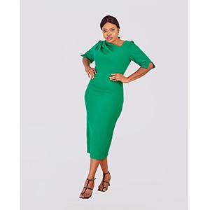HaloGlow Asymmetric Neckline Dress