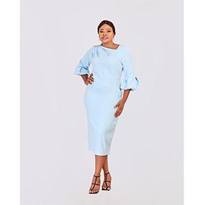 HaloGlow Blue Asymmetric Neckline Dress