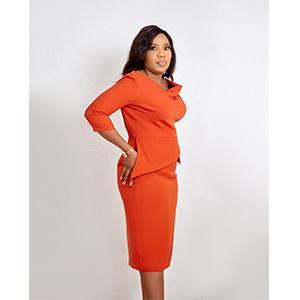 HaloGlow Orange Cowl Neckline Dress