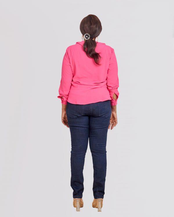 HaloGlow Pink Tie Blouse