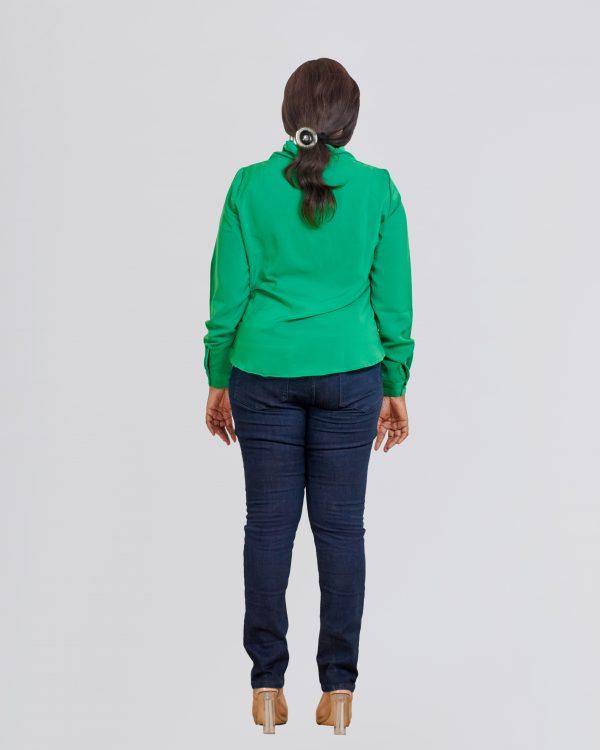 HaloGlow Green Tie Blouse