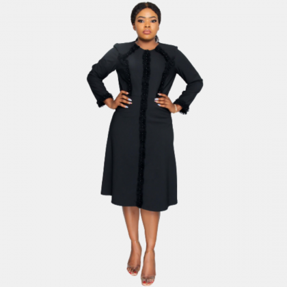HaloGlow Black Pearl Detailed Fit And Flare Dress