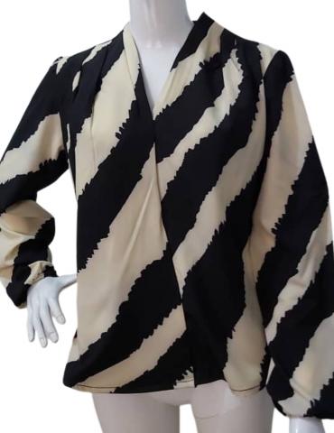 HaloGlow Zebra Print Wrap Blouse